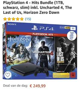 Playstation 4 PS4 o.a. Hit Bundle (1TB, zwart , slim) incl. Uncharted 4, The Last of Us, Horizon Zero Dawn