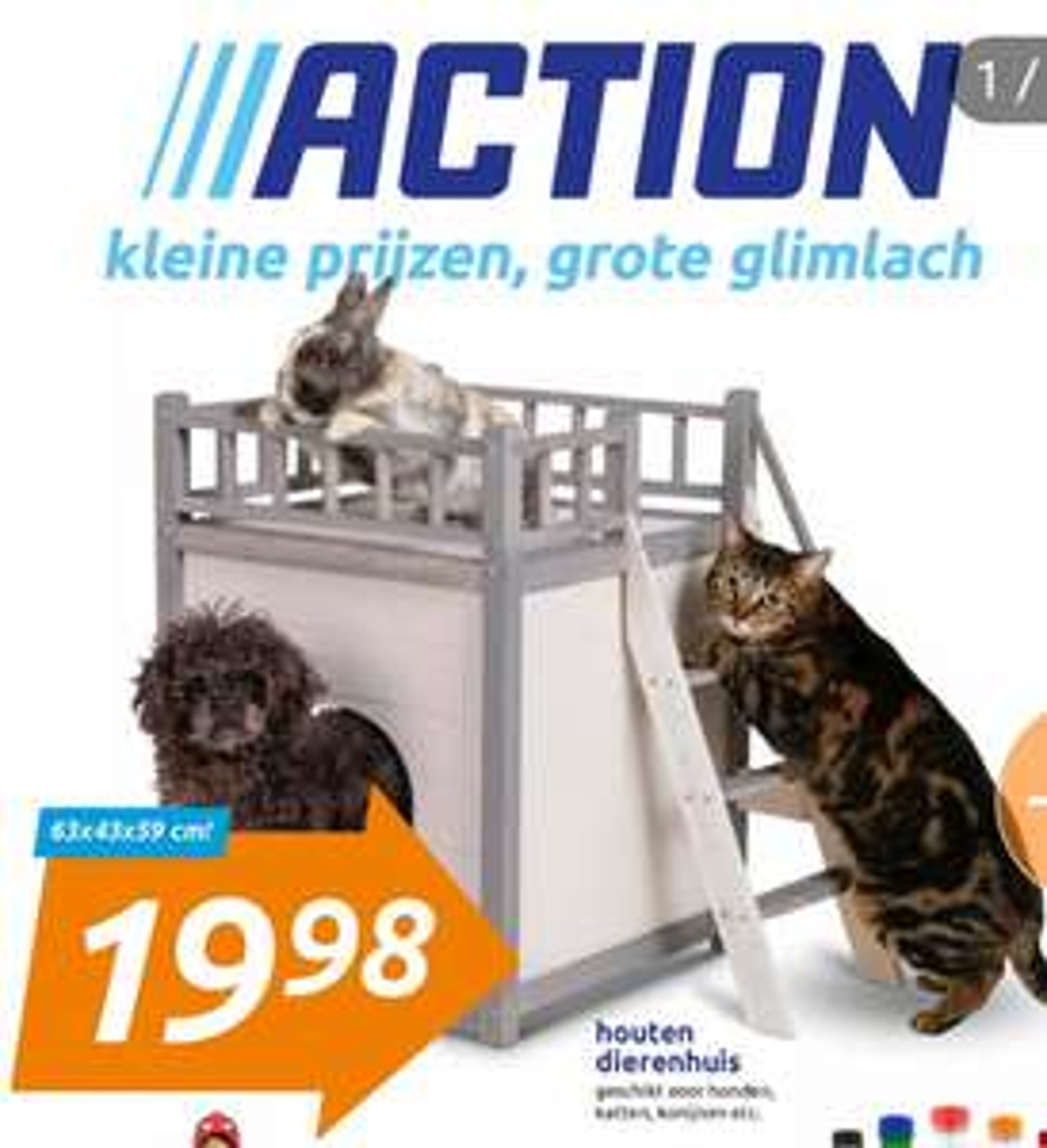 Action houten dierenhuis