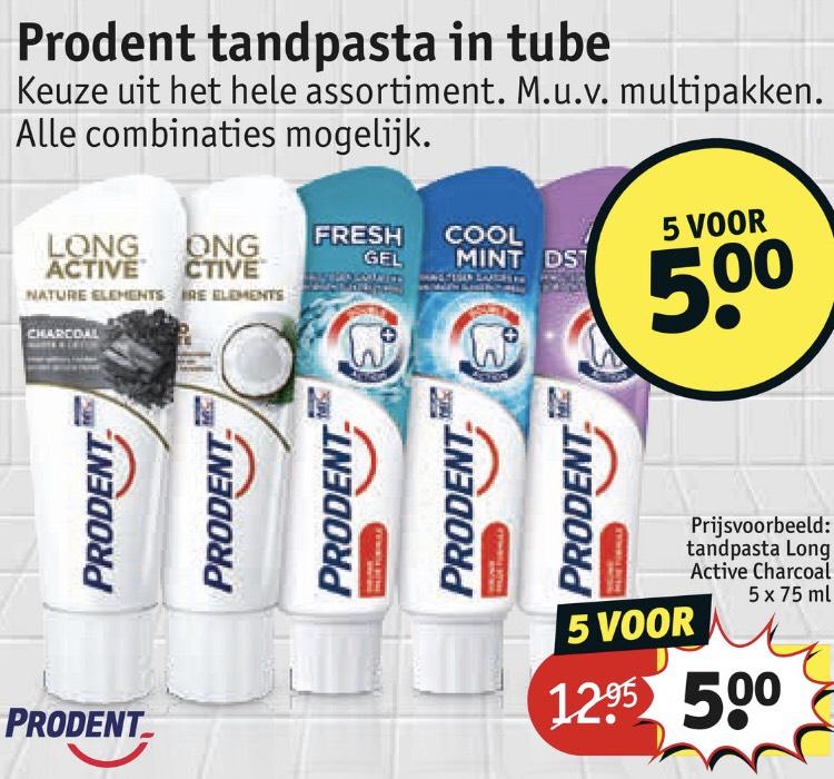 Prodent tandpasta 5 stuks €5 normaal €12.95