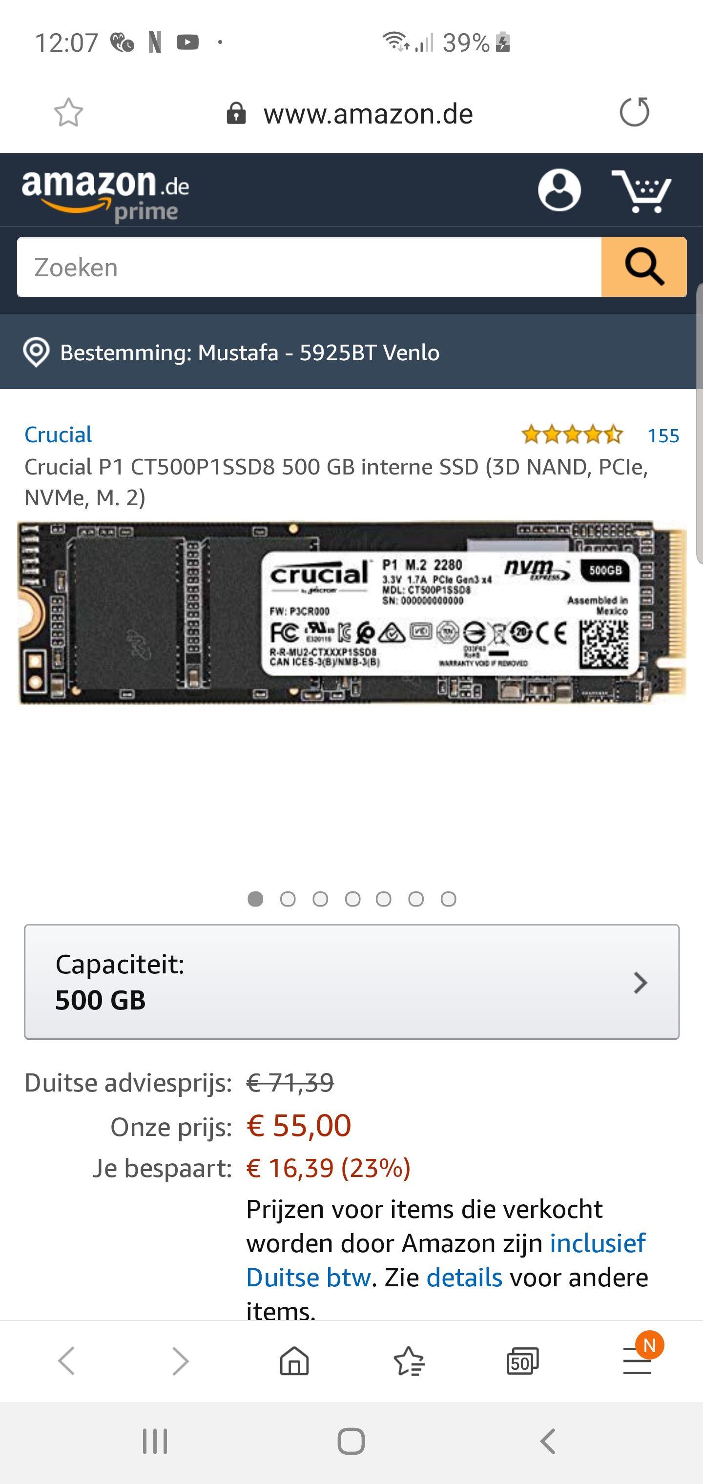 Crucial P1 CT500P1SSD8 500 GB interne SSD (3D NAND, PCIe, NVMe, M. 2)  €55,- @Amazon.de