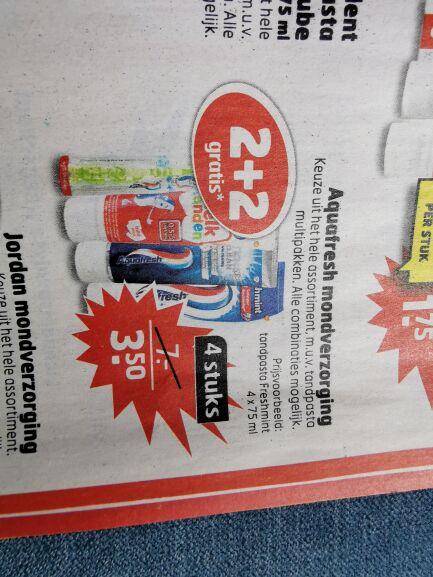 Aquafresh tandpasta freshmint 2+2 gratis trekpleister