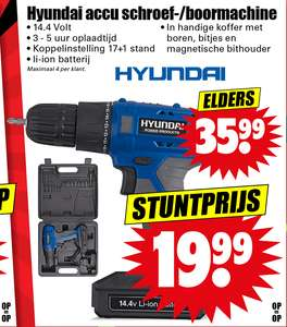 Vanaf do26sep: Hyundai accu schroef/boormachine (via Dirk super). 14.4V. 20eur.