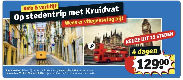 Stedentrip keuze uit 15 buitenlandse steden, 4 dagen €129.00