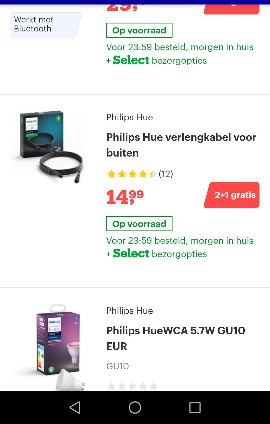 2+1 gratis op veel Philips Hue producten @Bol.com