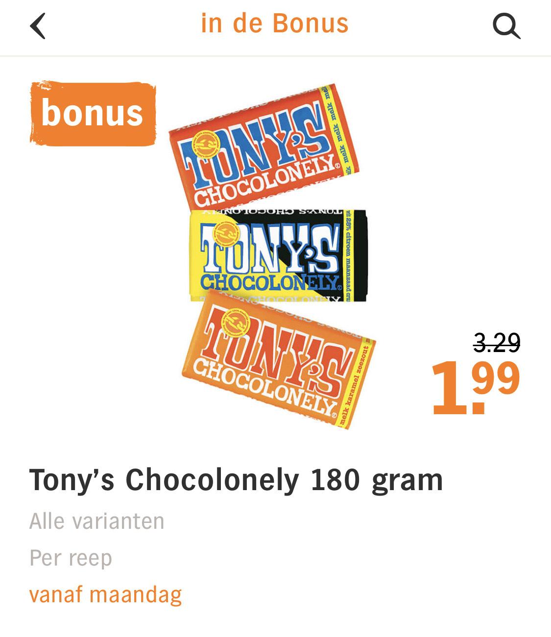 Alle Tony Chocolonely deze week €1,99 bij Albert Heijn.