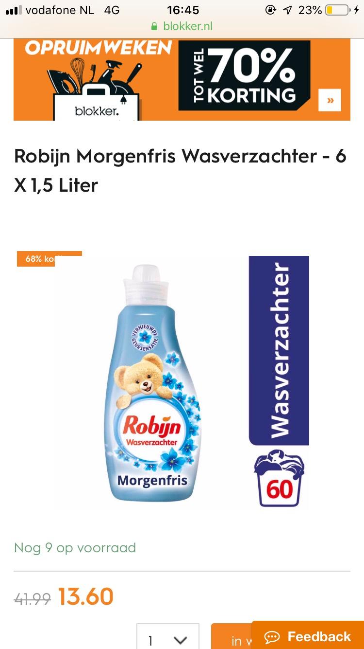 Robijn Morgenfris Wasverzachter - 6 X 1,5 Liter €13,60