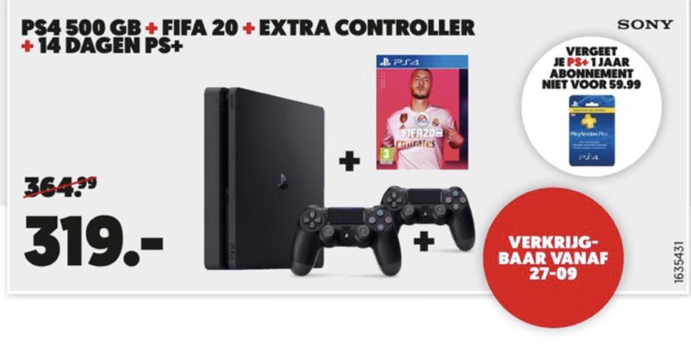PS4 500GB + FIFA 20 + extra controller + 14 dagen PS+ @Mediamarkt