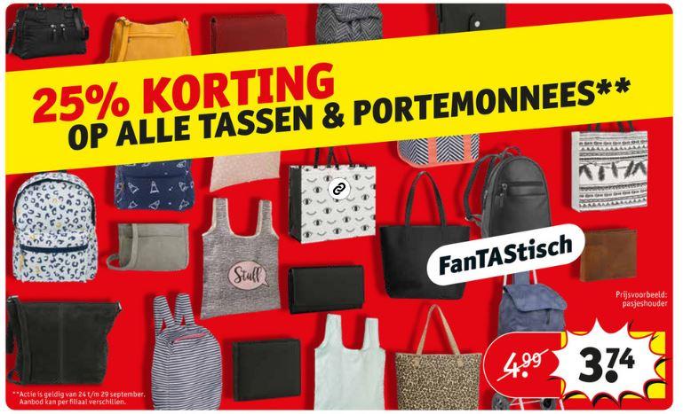 Tassen & portemonnees 25% (extra) korting - ook Eastpak en Nike @ Kruidvat