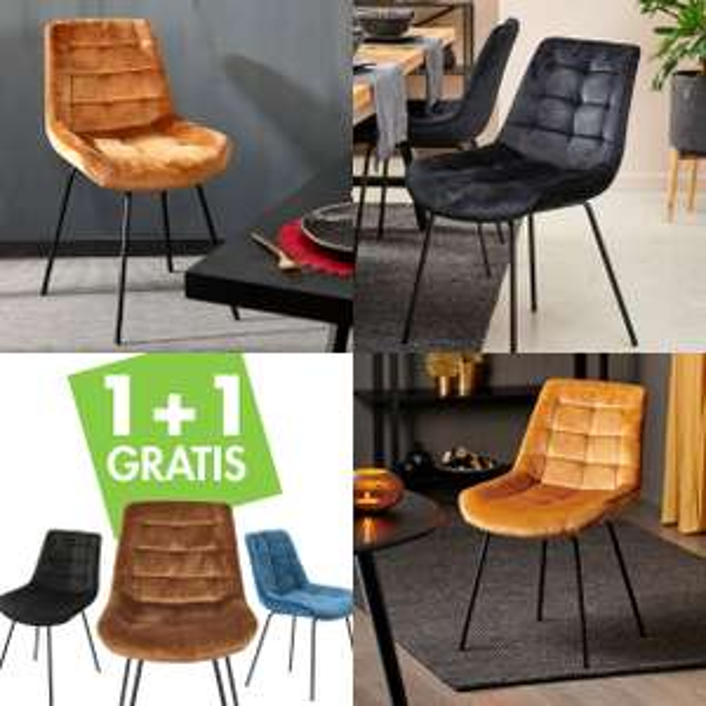 Fluwelen stoelen 1+1 gratis + 10% extra (prijs = per 2) @ CASA