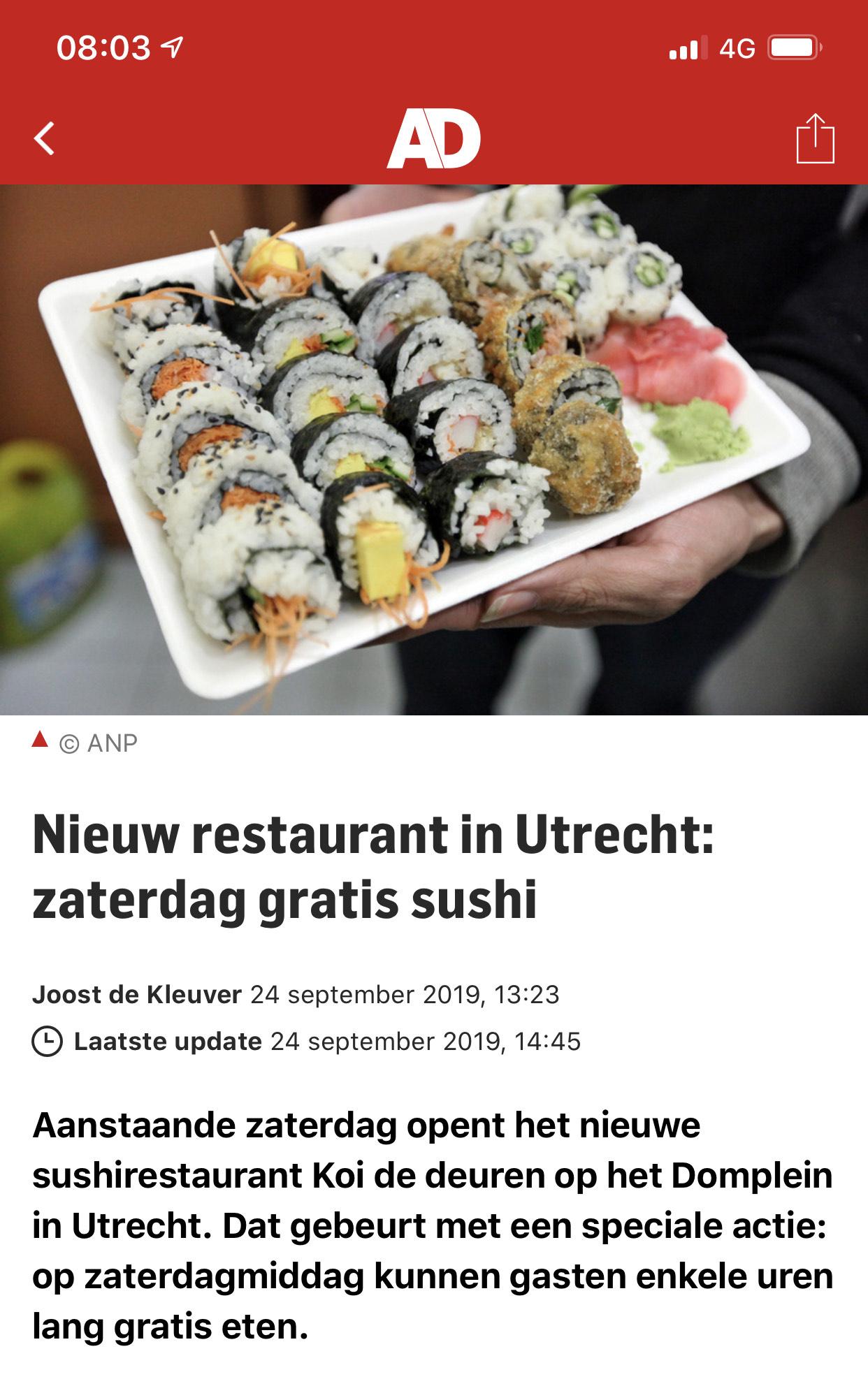 [LOKAAL] Zaterdag gratis sushi bij nieuw restaurant in Utrecht