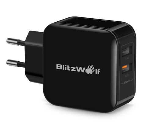 BlitzWolf BW-S6 QC3.0 + 2.4A 30W Dual USB Charger EU-adapter