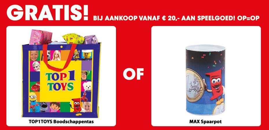 Gratis Max spaarpot of boodschappentas cadeau bij een besteding van € 20,- @ Top1Toys