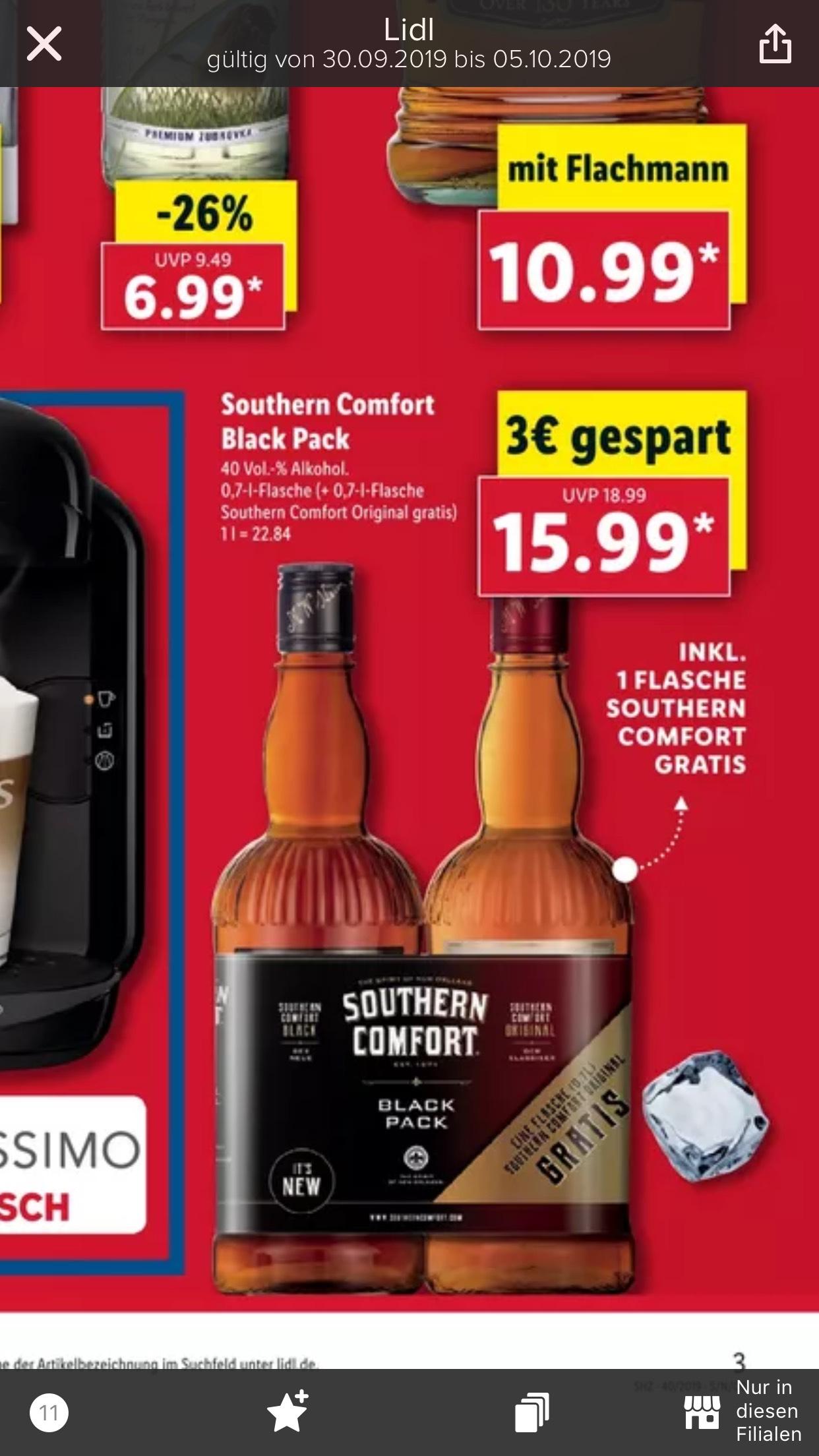 Southern Comfort black pack Grens deal Lidl Duitsland.