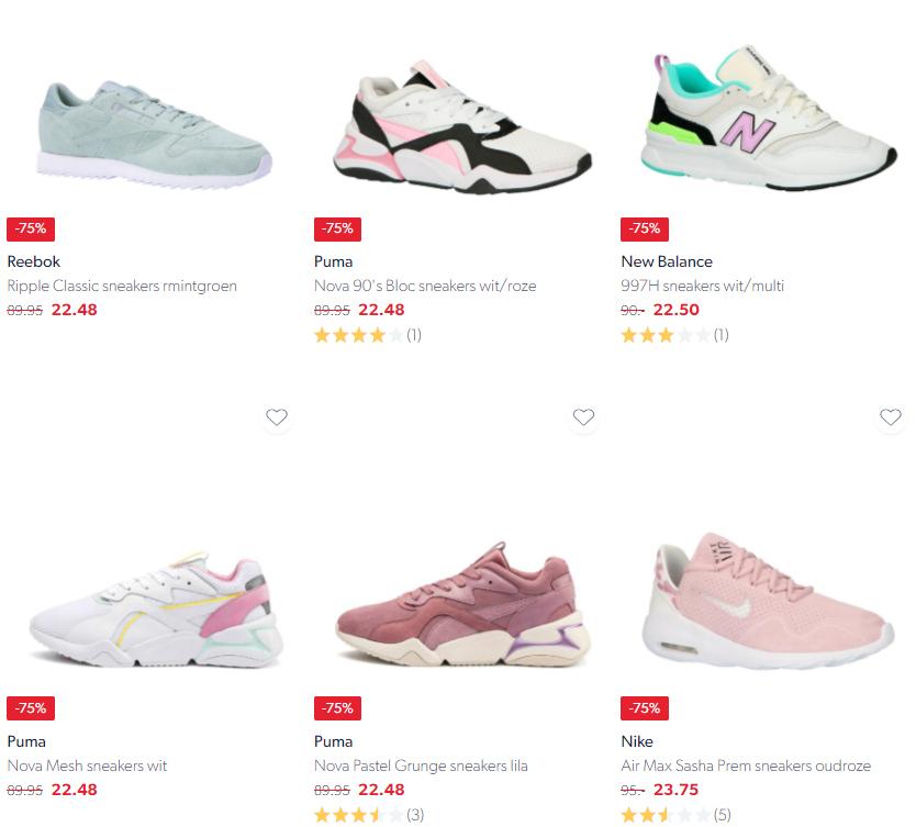 Heel veel sneakers 70% // 75% // 80% korting @ Wehkamp