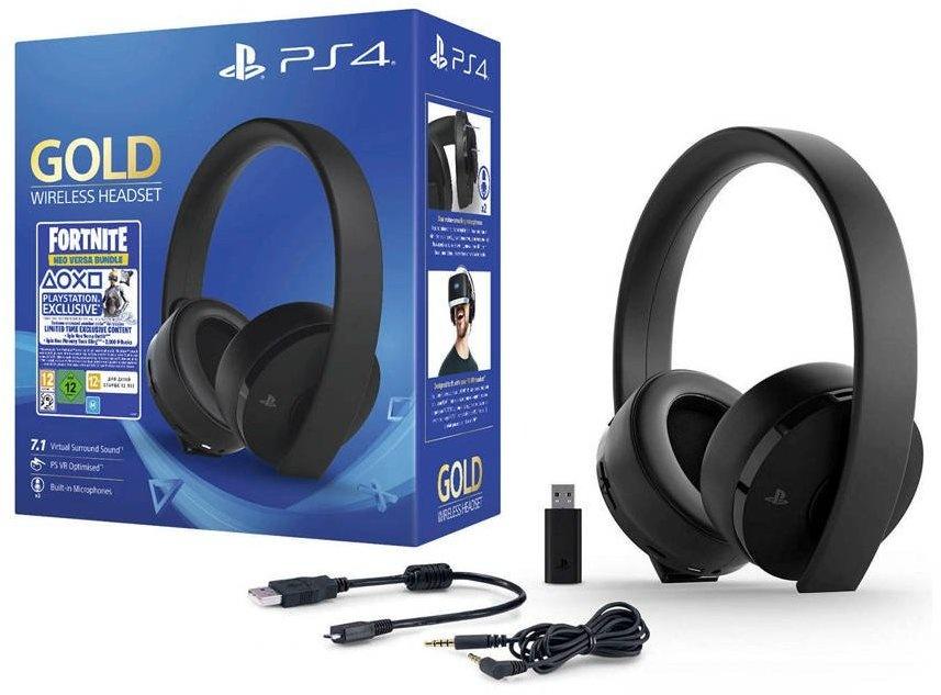 PS4 Sony Wireless 7.1 Headset (Gold Edition) Fortnite Neo Versa Bundle