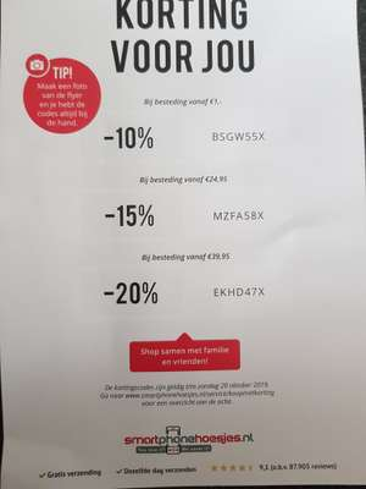 10%, 15% of 20% korting bij Smartphonehoesjes.nl