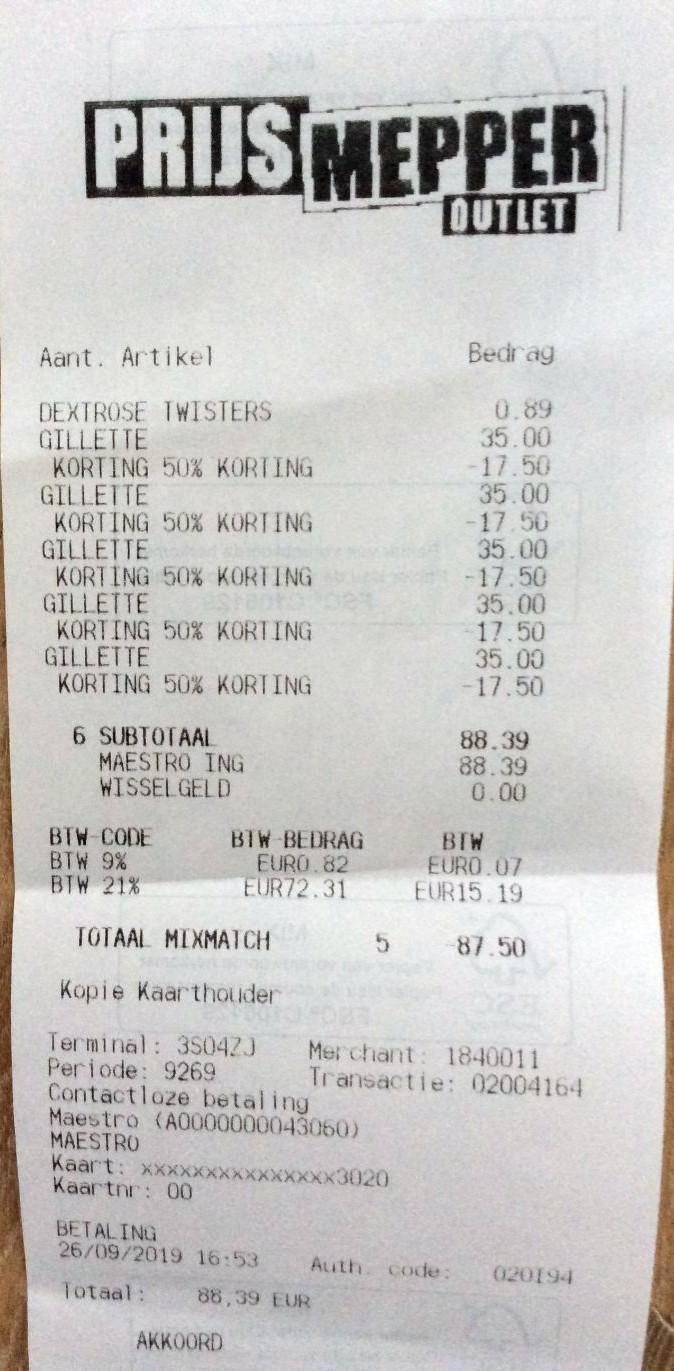 Prijsmepper  scheerspullen 50% korting o.a. Gillette Fusion 16 stuks voor €17,50 (€1,09 per stuk)