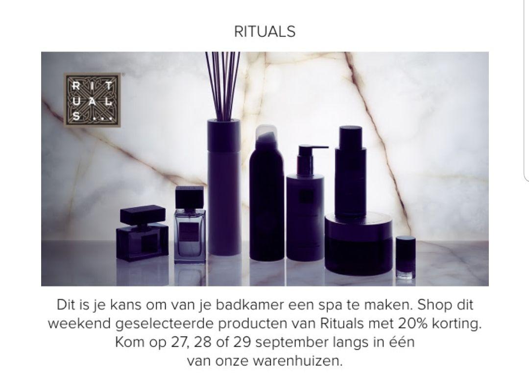 20% korting op geselecteerde Rituals producten @ Hudson's Bay (alleen in de winkel)
