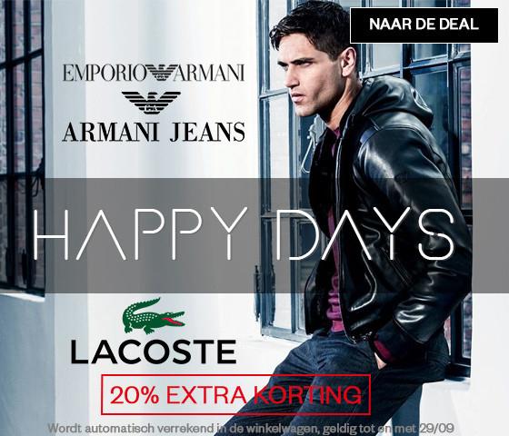 Actie: 20% extra korting op Armani Jeans, Emporio Armani en Lacoste @ Maison Lab