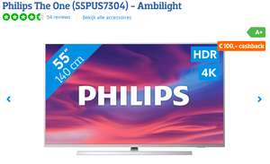 € 100,- Coolblue cashback op de Philips 55PUS7304