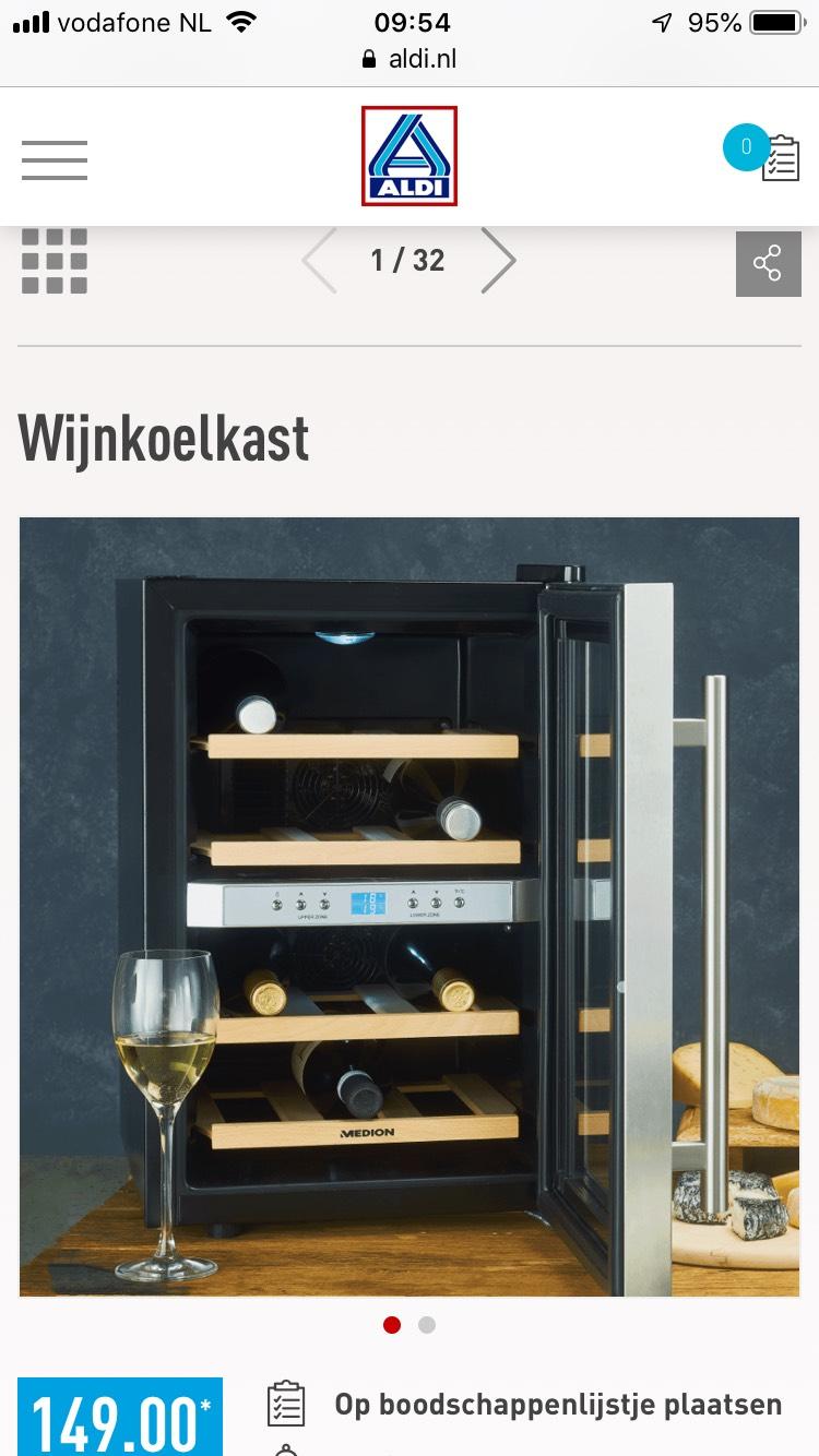 Wijnkoelkast voor 12 flessen bij de Aldi