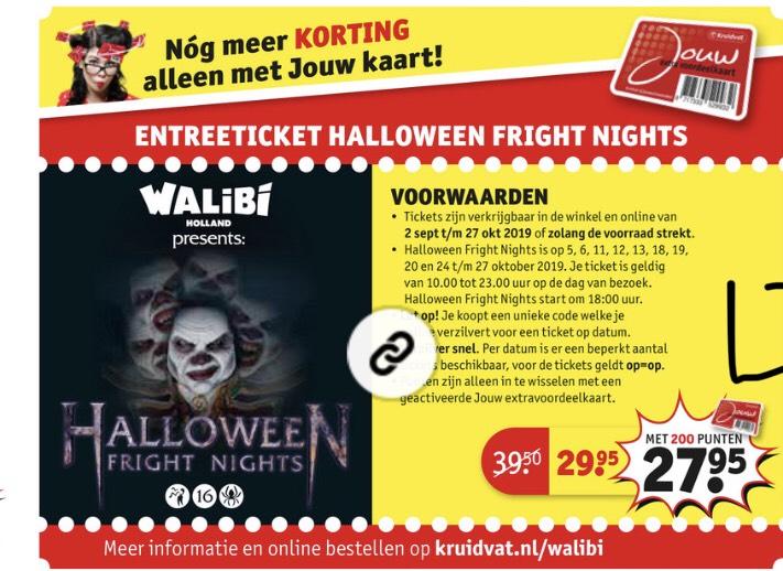 Entreeticket Halloween Fright Nights Walibi van €39.50 voor €27.95