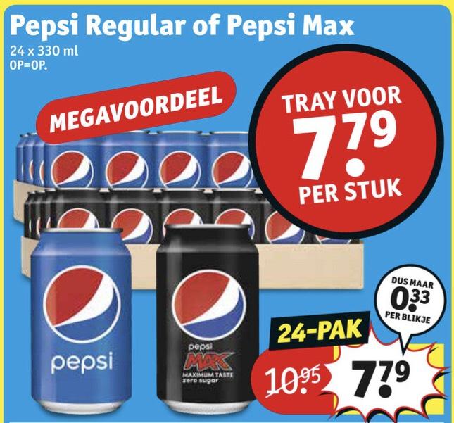 Pepsi regular of max tray 24 stuks