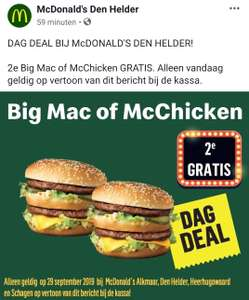 [Lokaal] 2e gratis Big Mac of McChicken