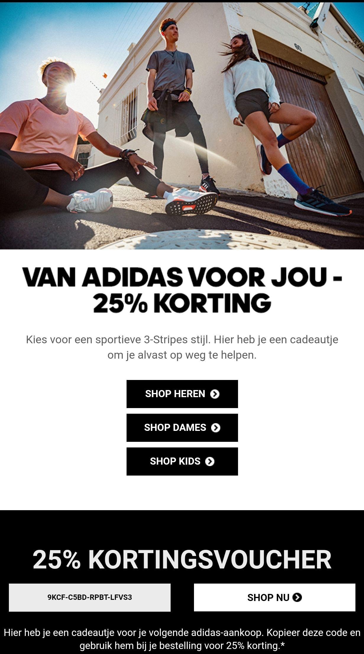 25% (extra) korting bij Adidas