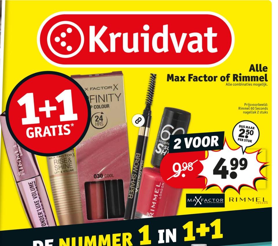 1+1 gratis Max Factor en Rimmel (Kruidvat)