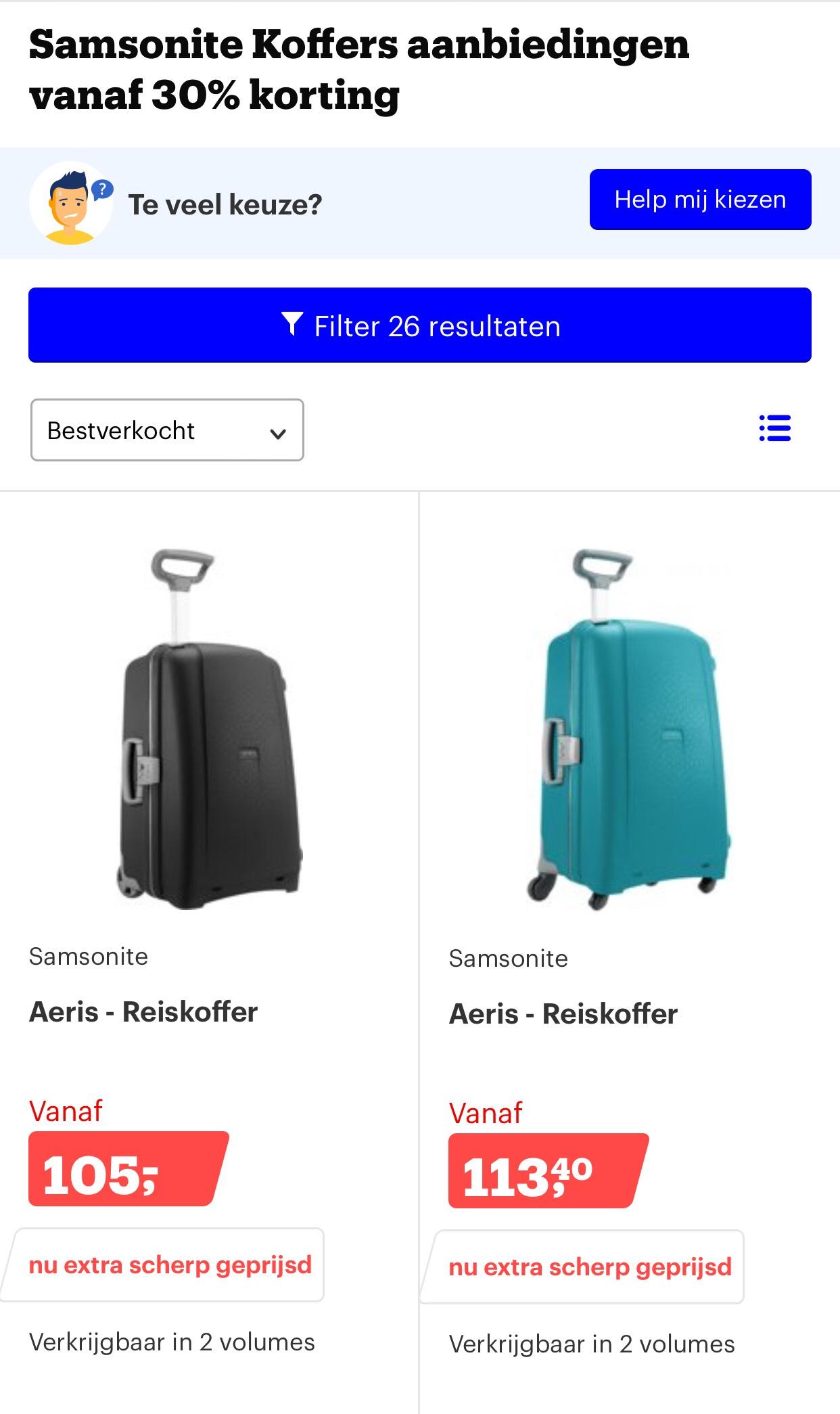 Samsonite 30% of meer korting op koffers (bol.com)