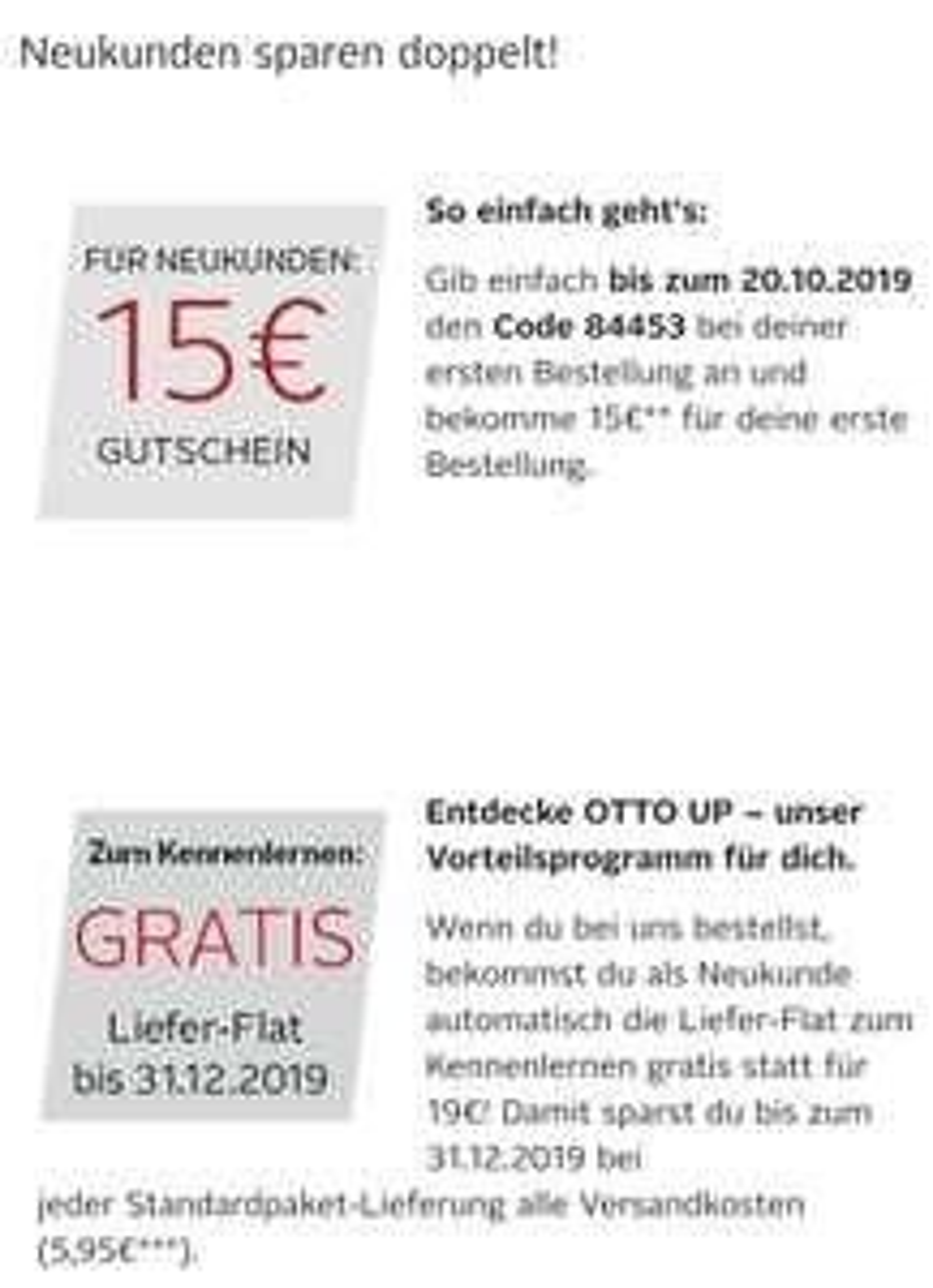 €15 korting + gratis verzending Otto.de