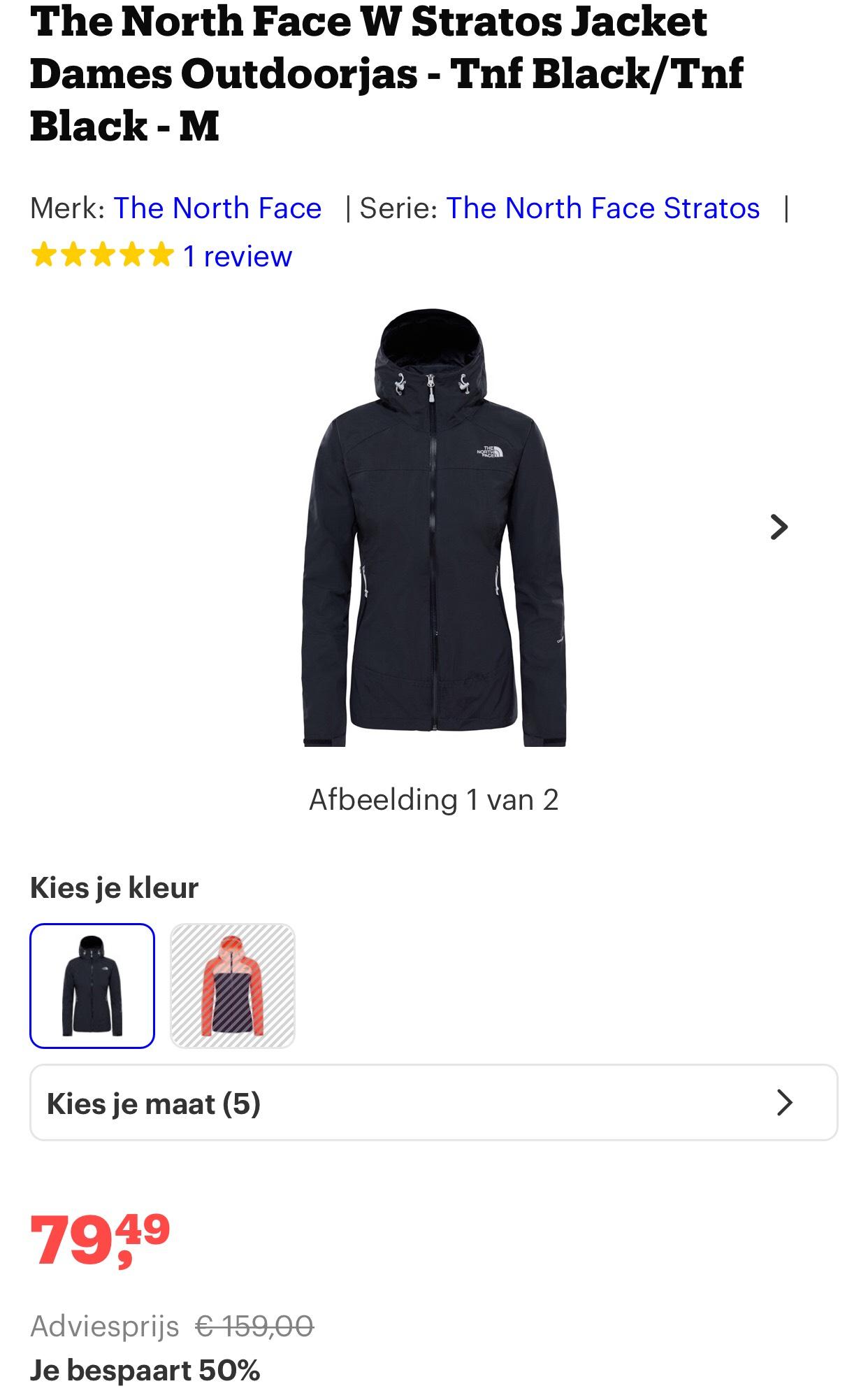 The North Face W Stratos Jacket Dames Outdoorjas - Tnf Black/Tnf Black - M  50% korting (bol.com)