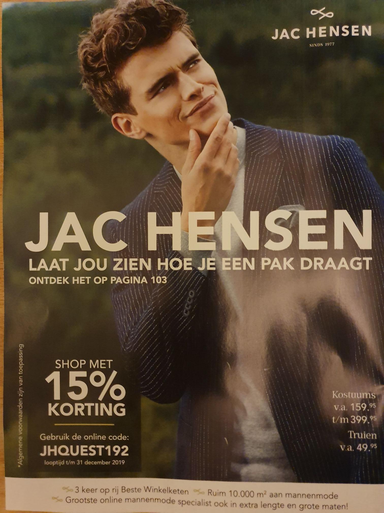 15% korting op alles @Jac Hensen