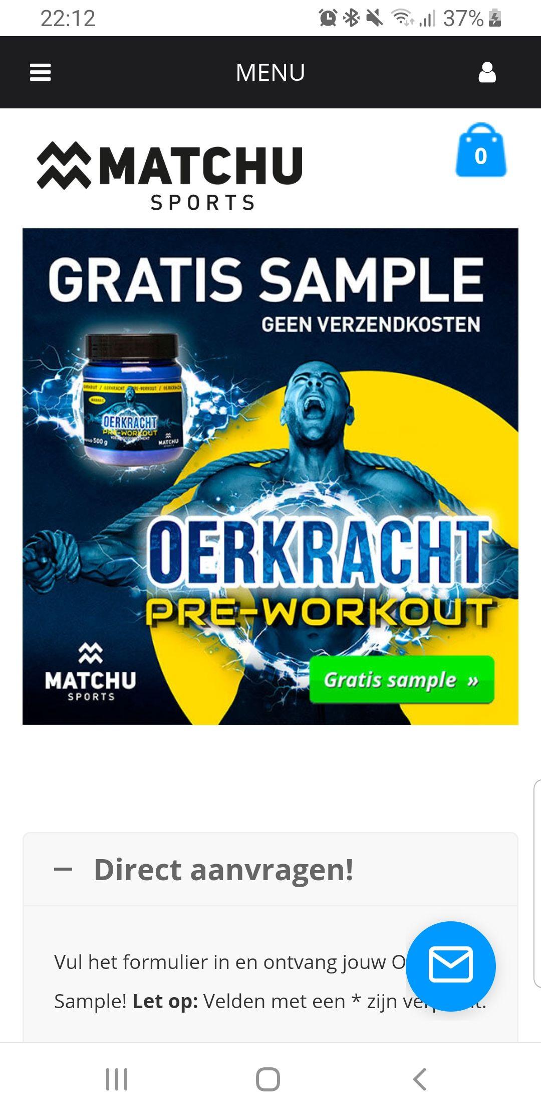 Gratis Pre workout sample Oerkracht @ MatchUs