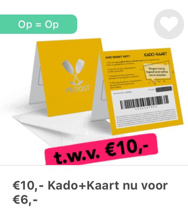 Kado+Kaart van €10 voor €6 en 1950 punten @Tessa