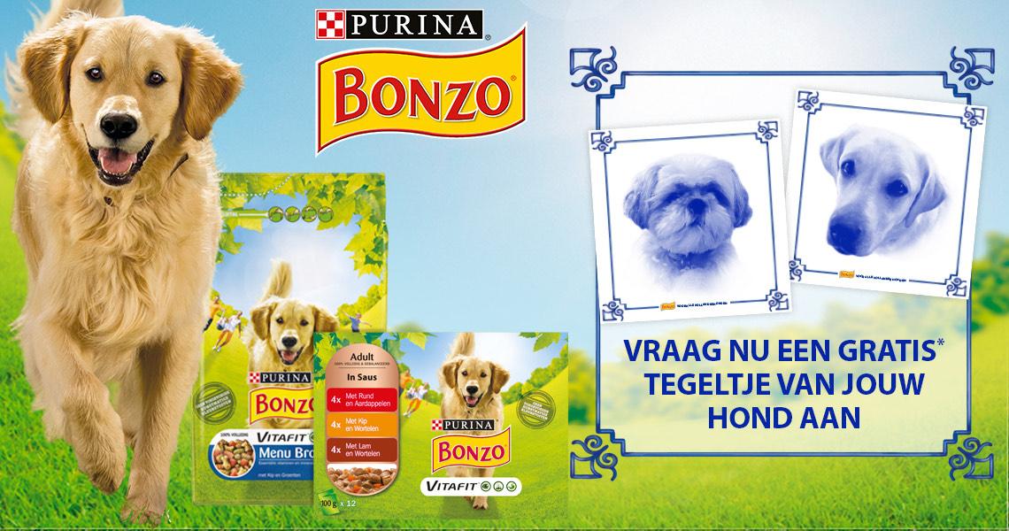 Gratis Hollands tegeltje van jouw hond bij minimaal €35,- aan besteding aan Bonzo producten @Bol.com
