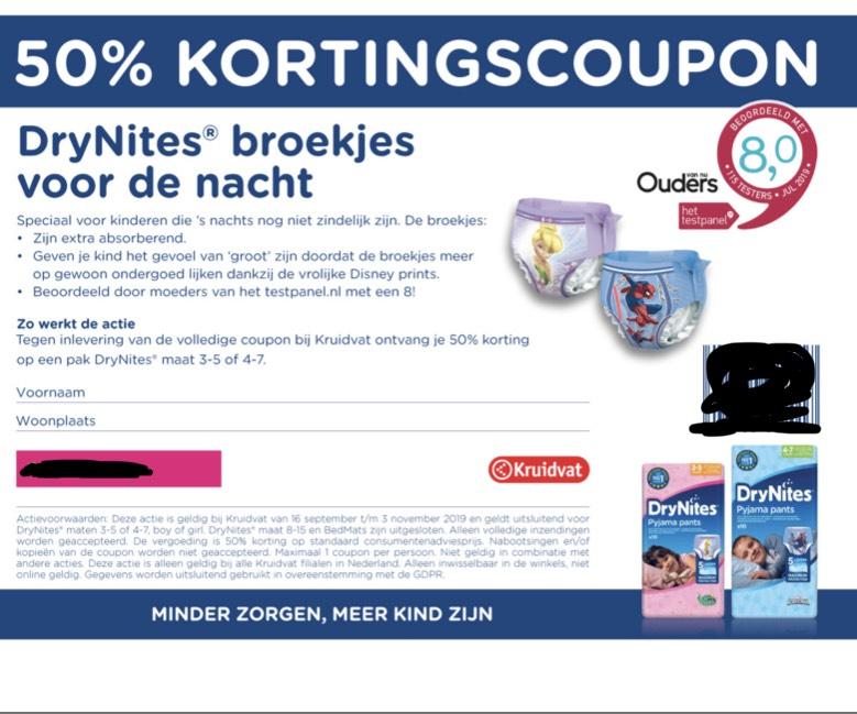 Drynites 50% korting met coupon bij Kruidvat