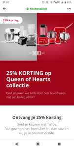 25% korting op kitchenaid Queen of Hearts collection.