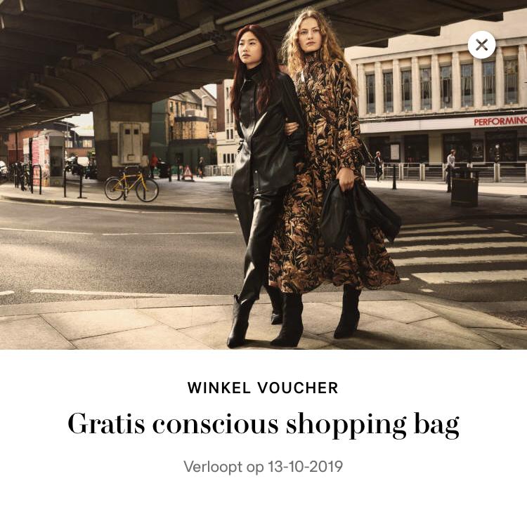 H&M gratis conscious shopping bag (bij besteding >40 euro)