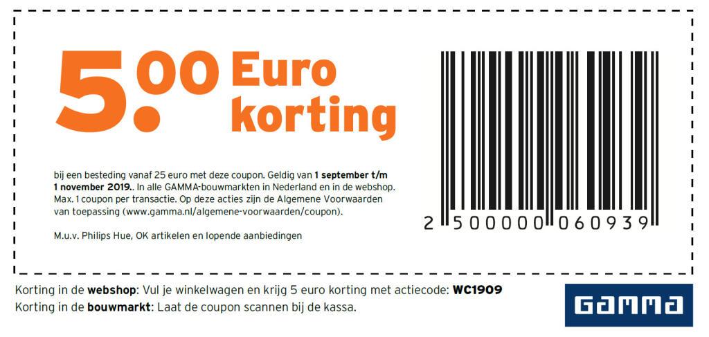 De 5 euro kortings bon van de gamma bij aankopen boven de 25 euro. De bon van oktober, wc1910