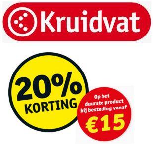 20% tot 25% extra korting, op duurste product, bij aankoop (vanaf samen € 15,-) voor kaarthouders @ Kruidvat