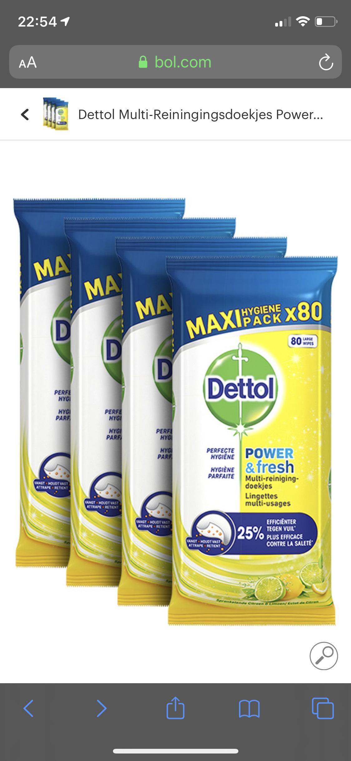 Dettol Multi-Reiningingsdoekjes Power&Fresh Citrus 4 x 80 stuks @ Bol.com