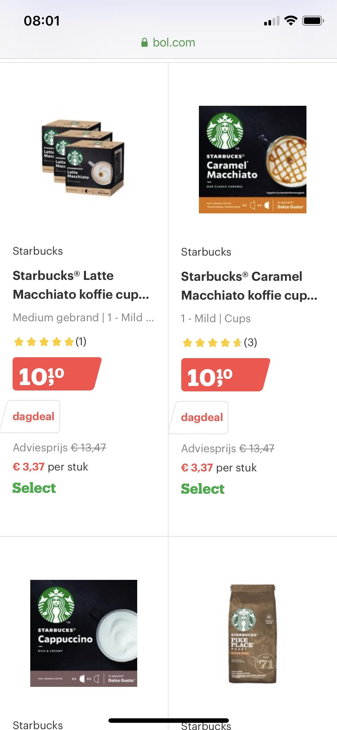 Bol.com dagdeal 25% korting op koffie