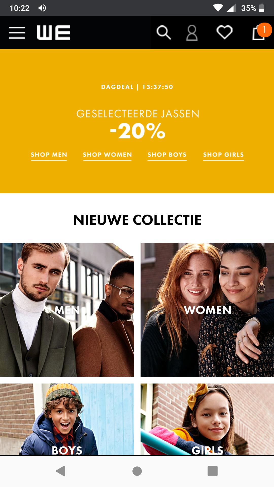 Dagdeal: 20% korting op bepaalde jassen bij We Fashion, heren-, dames- en kinderjassen