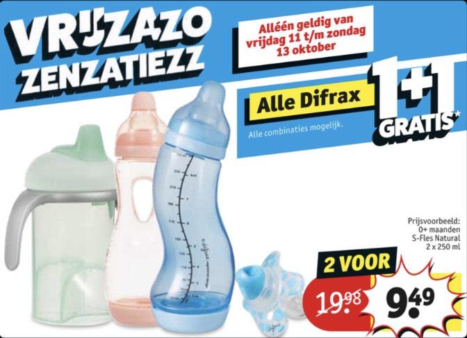Alleen vrijdag 11 t/m zondag 13 oktober Difrax 1+1 gratis