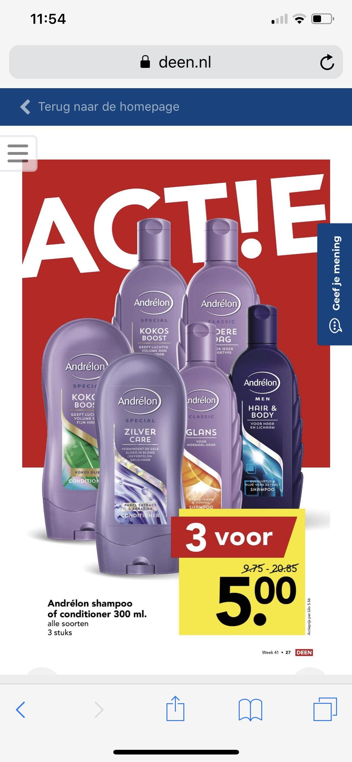 Alle soorten Andrelon shampoo of cremespoeling 3 voor 5 euro