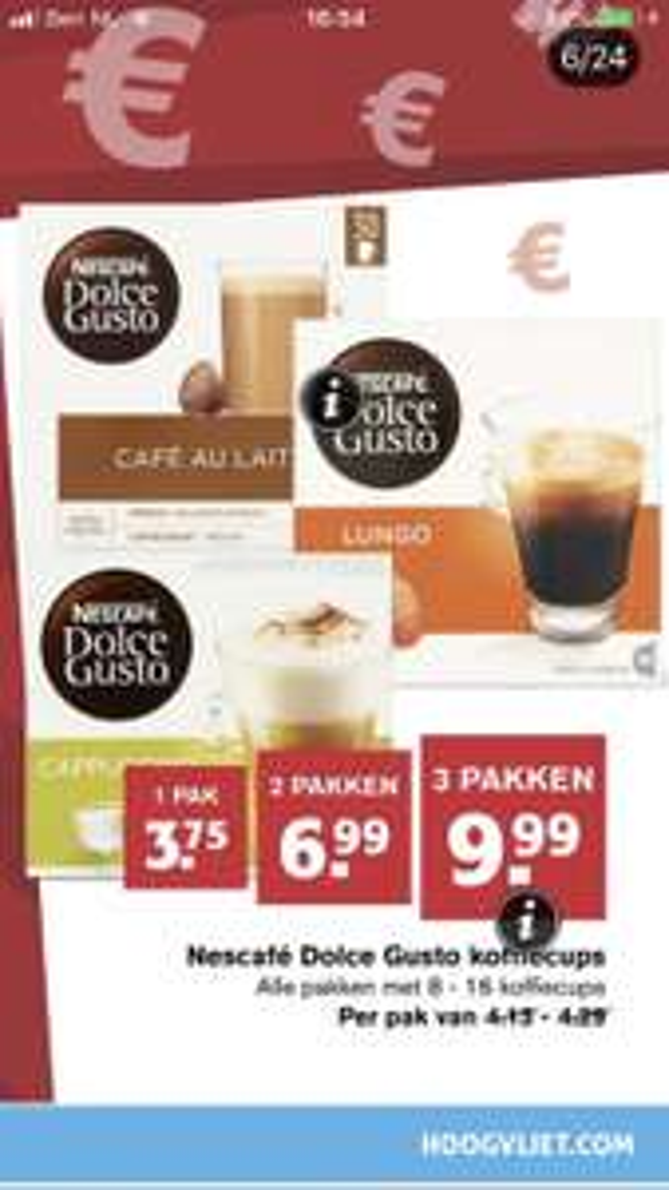 Nescafé Dolce Gusto 3 pakken €9.99