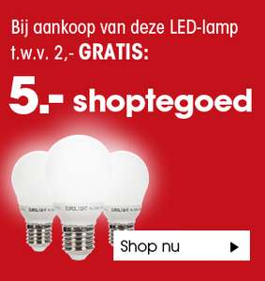 5 euro shoptegoed bij LED-lamp voor 2 euro