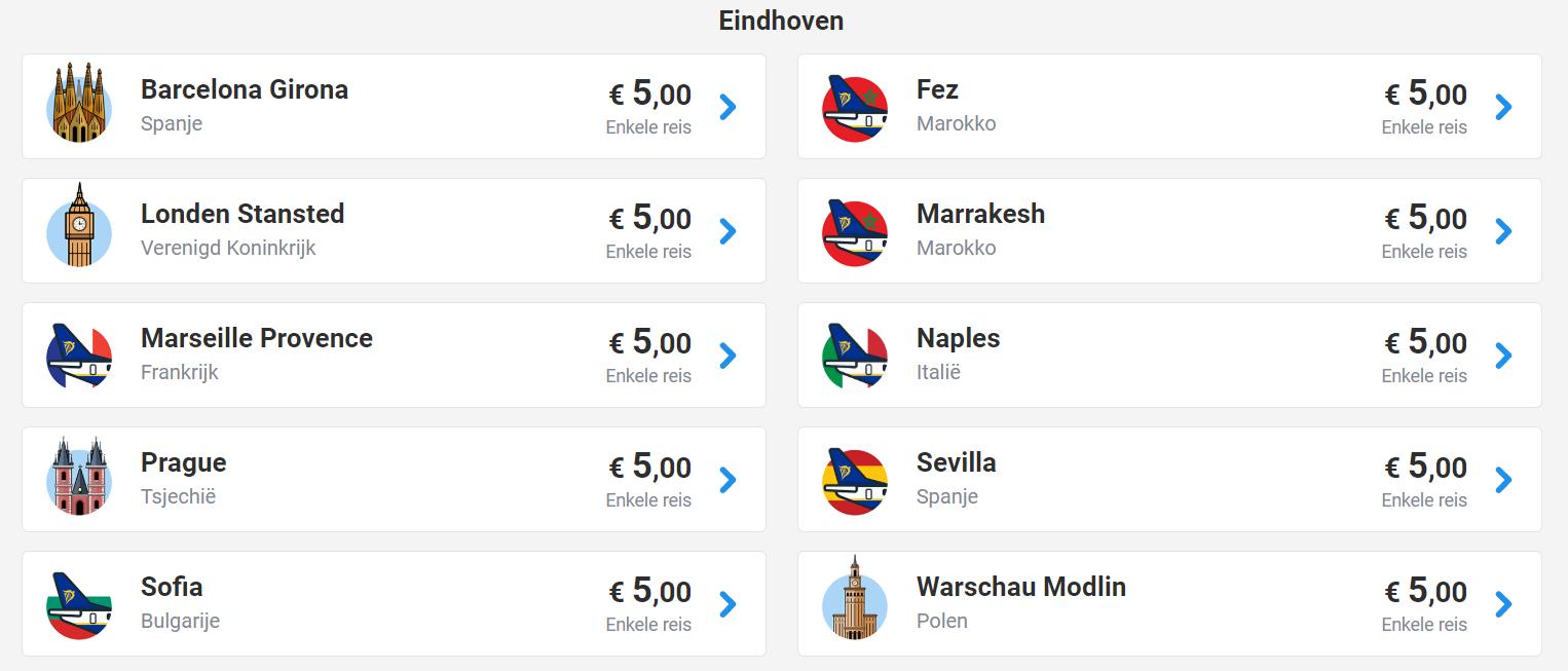 Veel vluchten (vanaf Eindhoven) in november voor €5 @ Ryanair